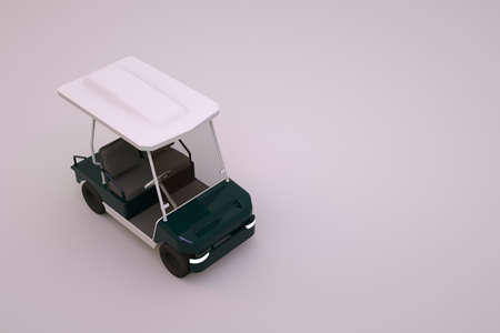 3D model of white electric golf car. White golf car on white isolated background. 3d graphics, golf car for tourists. Close-up, top view.