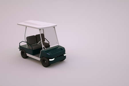 Graphic 3D model of a sports golf car on an isolated white background. White golf car, for tourists. Close-up.