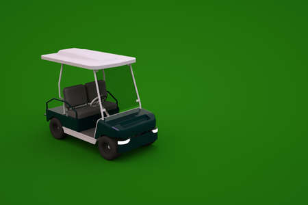 3d model of a sports golf car on a green isolated background. Isometric golf car , 3D graphics, close-up. Archivio Fotografico