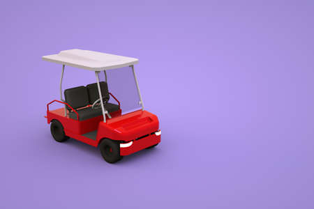 Isometric model of a sports golf car for tourists. Red golf car on a pink, purple isolated background. 3D graphics, close-up