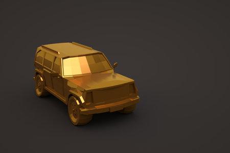 3d golden car isolated on a dark background. Large golden passenger car. 3d illustration, close-up Archivio Fotografico