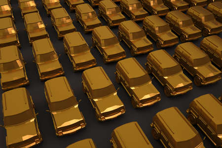 3D lots of realistic cars with gold coating on a dark, gray isolated background. Large golden passenger cars. Set of golden passenger cars. 3D graphics, close-up