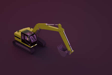 3D model of a yellow excavator with a large bucket. 3D graphics, excavator object on isolated dark background. Yellow construction car on a dark background, close-up.