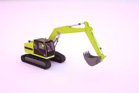 3d graphic model of a yellow construction machine with a bucket. Yellow excavator on a white isolated background. 3D graphics, close-up