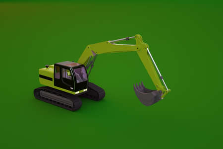 Model of a yellow excavator on a green isolated background. Object of a large heavy construction machine with a large bucket in the background. 3D graphics, close-up