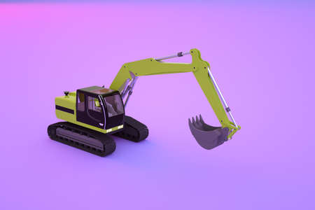 Graphic model of a yellow construction excavator on a purple, pink isolated background. Isometric model of a construction machine. 3D graphics, close-up
