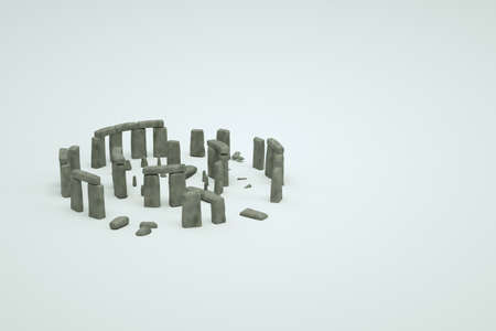 3d models of ancient ruined stone ruins on a white isolated background. 3d image of ancient ruins, isometric objects of old destroyed buildings, graphics