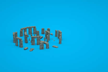 3D models of ancient ruined stone ruins on a blue isolated background. 3d representation of ancient ruins. Ruined building on a blue background