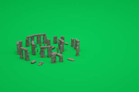 3D models of ancient ruined stone ruins on a green isolated background. 3d representation of ancient ruins. Ruined building on a green background