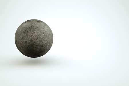 3D model of a large sphere, a full gray moon on a white isolated background. 3D graphics, isolated object of the full moon. Close-up