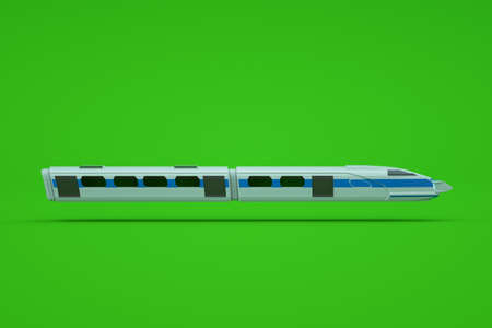 Graphic 3D model of an electric train or metro on a green isolated background. Train, metro, high-speed train, express, 3D model, graphics. Side view Archivio Fotografico