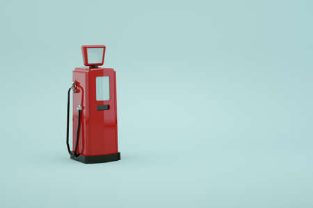 3d model of a gas pump for refueling a car on a white isolated background. Red station for gasoline. Refueling the car. Close-up