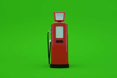 3d model of a gas pump for refueling a car on a green isolated background. Red station for gasoline. Refueling the car. Close-up