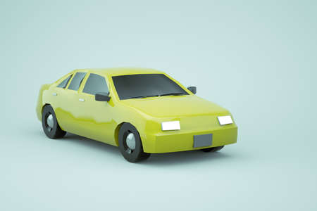 3d model of a yellow car on a white isolated background. Ordinary realistic yellow isometric car on a white background. Yellow car with its headlights on. Close-up Archivio Fotografico