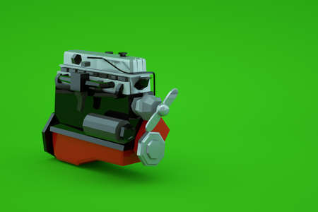 3d model of a mechanical part of a red large piston on a green isolated background. Mechanical part, repair, repair. Red big piston. Close-up Archivio Fotografico