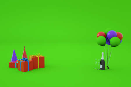 3d models of festive multi-colored gift boxes with gifts and ribbons, holiday caps, balloons and champagne. Festive decor on a green isolated background. Festive atmosphere, birthday, new year, holiday