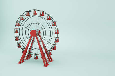 3d object ferris wheel on a white isolated background. Red Ferris wheel, 3d graphics. Close-up Archivio Fotografico