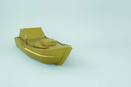 3d model of a boat, a motor boat on a white isolated background. Golden, yellow motor boat, speedboat. Gold coating. 3D graphics, close-up