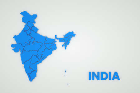 Illustration of a map of India on a white isolated background. Cartography of India. Country, continent. 3D graphics. Blue map on white background
