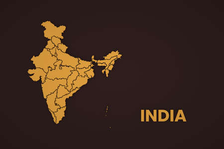Illustration, a picture of a map of India on a brown background. Cartography of India, a piece of India on the map. Close-up Archivio Fotografico