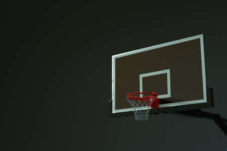 3d model of a basketball hoop with a grid on an isolated light, dark, gray background. 3d graphics, sports ring for basketball, ball throwing