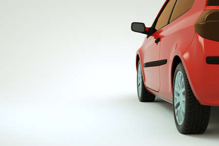 3d model of a red car, a car trunk on a white isolated background. Specific part of the trunk of a red car on a white background. Close-up