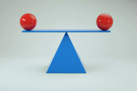 3d model of balancing red balls on a scale. Blue balancing scales with red balls on a white isolated background. Close-up