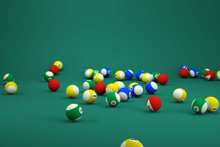 3d models of small billiard balls on a green isolated background. Billiard balls in a variety of ways. Lots of billiard balls, 3D graphics, close-up Archivio Fotografico
