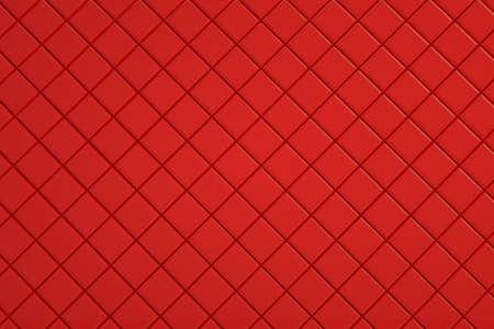 Wallpaper, small square tiles. Coating for decor, bathroom, kitchen or other. Red coating, 3d graphics