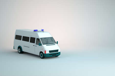 3d model of a police truck, var, a police car with flashing lights on a white isolated background. 3D graphics, close-up