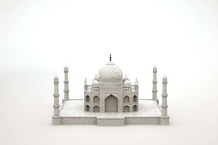 3D model of the Mosque Temple. Ancient Muslim temple on a white isolated background. 3D graphics, modeling. Close-up