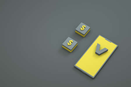 3D object of the phone, a currency icon on the screen on a dark, gray isolated background. 3D graphics, modeling, close-up