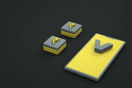 Isometric illustration of a smartphone with a currency icon. Phone with currency on a dark, black isolated background. 3D graphics, close-up Archivio Fotografico