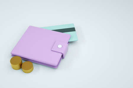 3D graphics, a model of a wallet with coins and a bank card on a white isolated background. pink wallet, close-up