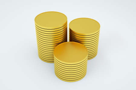 3D model of a stack of gold coins. Column of gold coins on an isolated white background. 3D graphics, objects. Close-up Archivio Fotografico