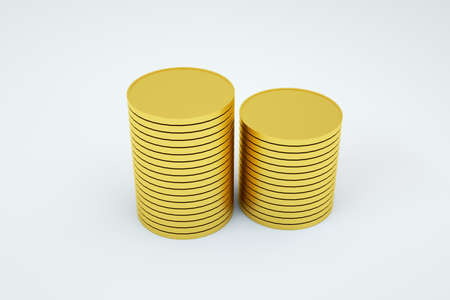 3D graphics, objects of gold coins, small things laid out in a column. Small thing laid out in a tower on a white isolated background. 3D graphics, close-up