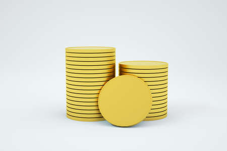 3D illustration of models of golden coins standing in a column on a white isolated background. 3D graphics, small change, gold coins. Close-up Archivio Fotografico