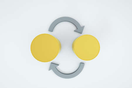 3D illustration of gold coins and gray arrows on a white isolated background. Exchange operation. Currency exchange, coin exchange. Top view, close-up