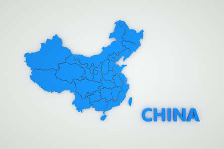Illustration of a map of China on a white isolated background. Cartography of China. Country, continent. 3D graphics. Blue map on white background Archivio Fotografico