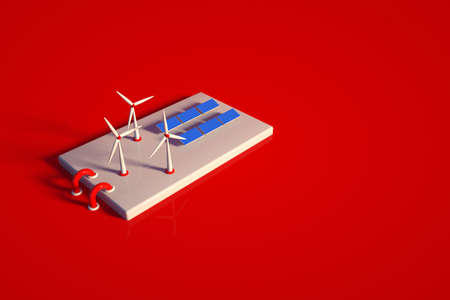 3D model of a power plant with solar panels and a wind farm. Solar station object on a red isolated background. Top view, side view Archivio Fotografico