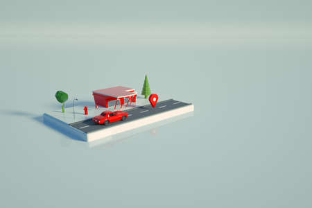 3D model of a red gas station. Object of a red gas station for cars on a white isolated background, standing on the platform. Top view, side view