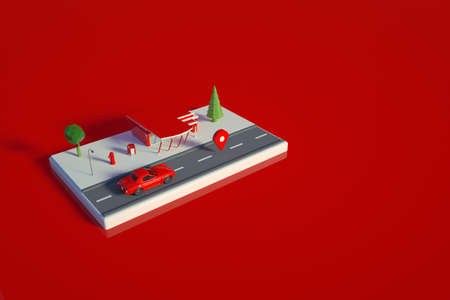 Graphic 3D model of a gas station for a car. Red model of a gas station on a red isolated background. 3D graphics, top view