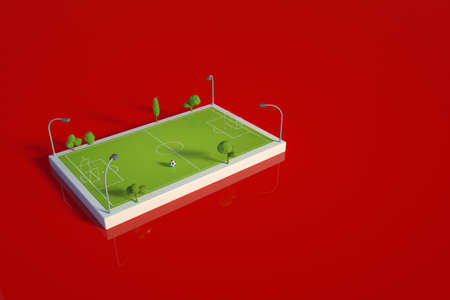 3D model of a sports football field. Football field, stadium, arena for competitions and training on a red isolated background. Template, 3d layout of a green football field. Top view, side view Archivio Fotografico