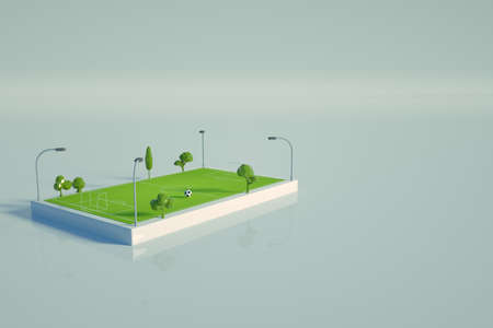 3d graphic model of a football field on a white isolated background. Isometric model of a green football field, a stadium for football. Top view Archivio Fotografico