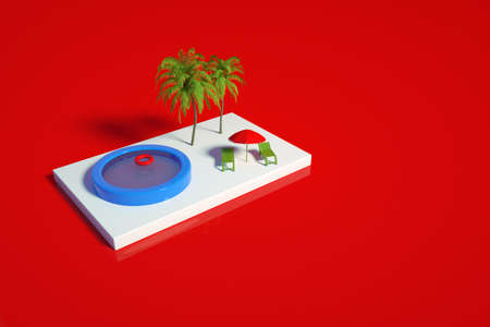 3D model of a swimming pool with a palm tree, sun loungers and an umbrella on a white stage. View of the blue pool, palm trees, sun loungers and a red umbrella on a red isolated background. 3D graphics, top and side view