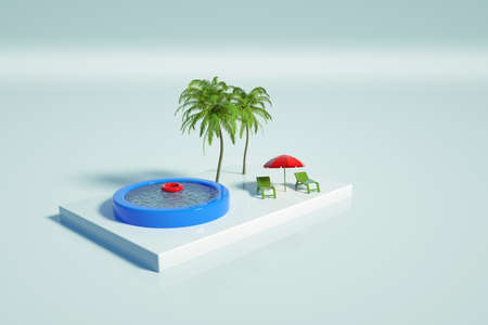 Graphic illustration of a swimming pool with water, palm trees, sun loungers and an umbrella on a white isolated background. Place to relax. Inflatable swimming pool. 3D graphics, top view Archivio Fotografico