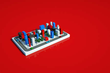 3D representation of the city model. 3D graphics of city skyscrapers on the panel. Isolated model of towers on a red background
