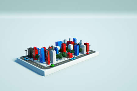 Graphic illustration of modern skyscrapers on a white isolated background. Models of tall new houses on a white background. Colorful skyscrapers. 3D graphics, top view