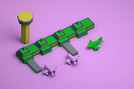 Graphic model of an airport with a tower and planes on a pink isolated background. Green model of an airport with planes on the background. Top view. Archivio Fotografico
