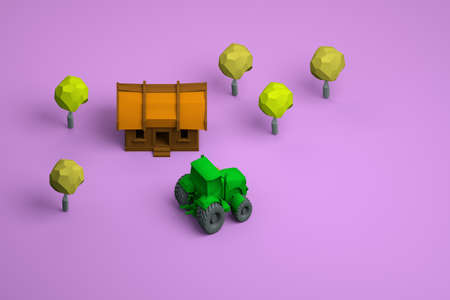 3D models of a wooden house, trees and a green tractor on an isolated pink background. Yellow leaves. Rural area. Areal view.